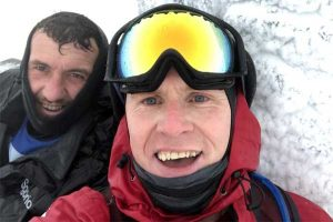 Geraint (left) and Brian reach the top of Snowdon - at -14 degrees